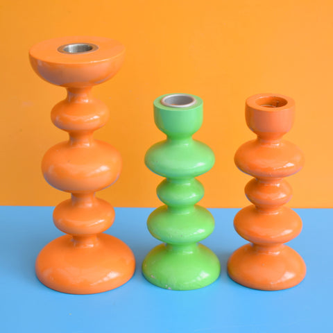 Vintage Bobbly Shaped Candle Holders - Orange & Green