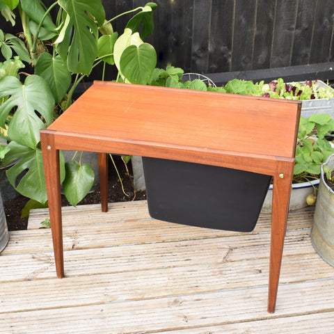 Vintage 1970s Sewing / Hobby Box / Table - Teak With Internal Compartments