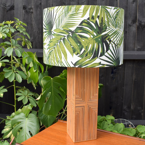 Vintage 1970s Unusual Bamboo / Wicker Table Lamp & Botanical Shade