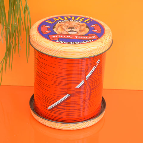 Vintage Metal Empire Sewing Thread Tin - Giant Cotton Reel - Red
