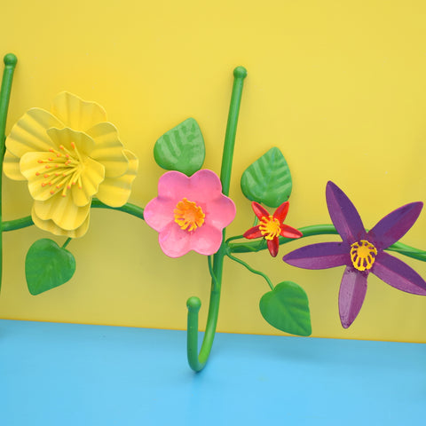 Retro Kitsch Metal Flower Power Hooks - Yellow, Orange, Pink