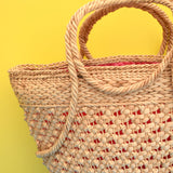 Vintage 1950s Large Woven Shopping Basket - Natural Colour & Red Lining