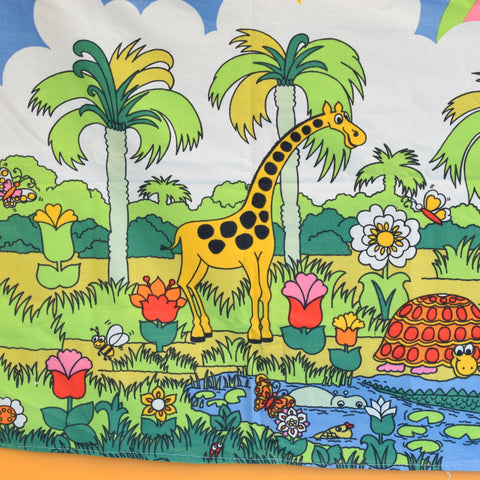 Vintage 1970s Fabric Panel - Rainbow Animals