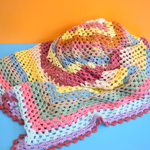 Vintage 1970s Large Crochet Blanket / Throw - Plumb / Pink etc