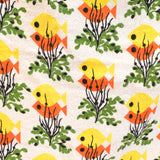 Vintage 1950s Towelling Curtains / Fabric - Fish Design , Orange & Yellow