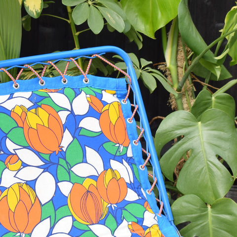 Vintage 1970s Garden Sun Lounger - French - Blue & Orange Flower Power