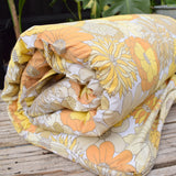 Vintage 1970s Homemade Padded Long Cushion / Mattress - Flower Power - Yellow