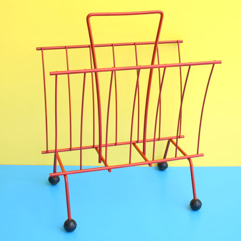 Vintage 1950s Atomic Balls Magazine Rack - Red & Black