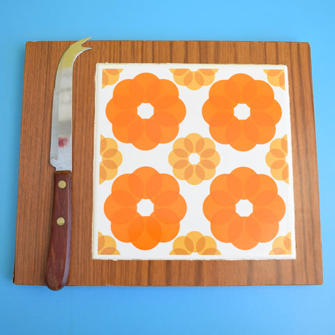Vintage 1960s Flower Power Cheese Board / chopping Board Tile - Orange / Brown