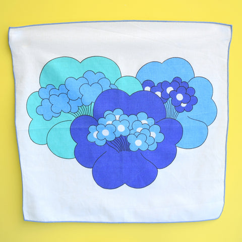 Vintage 1970s Napkins Set of 4 - Blue Flower Power