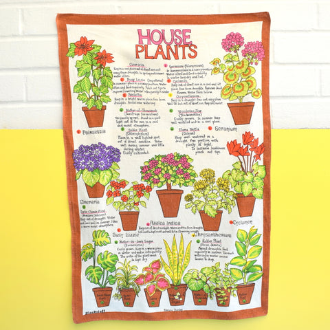Vintage 1960s Cotton Tea Towel - House Plant Identification