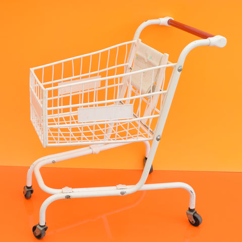 Vintage 1980s Plastic / Metal Children's Shopping Trolley - White