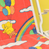 Vintage 1970s Folding Childs Garden Chair - Rainbows & Balloons - Red