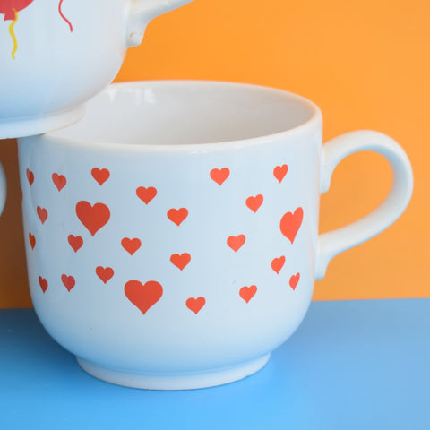 Vintage 1980s Kiln Craft Staffordshire Large Mugs - Heart / Balloons