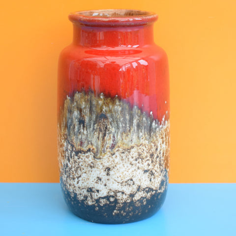 Vintage 1960s West German Small Ceramic Vase - Red