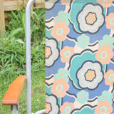 Vintage 1960s Garden Chair - Flower Power Design, Blue, Pale Pink
