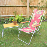 Vintage Reclining 1960s Folding Garden Chair - Red & Yellow Rose Design