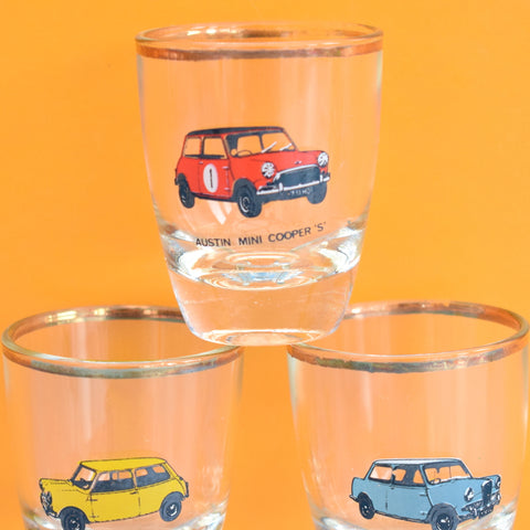 Vintage 1960s Set of 6 Shot Glasses - Different Mini Cars