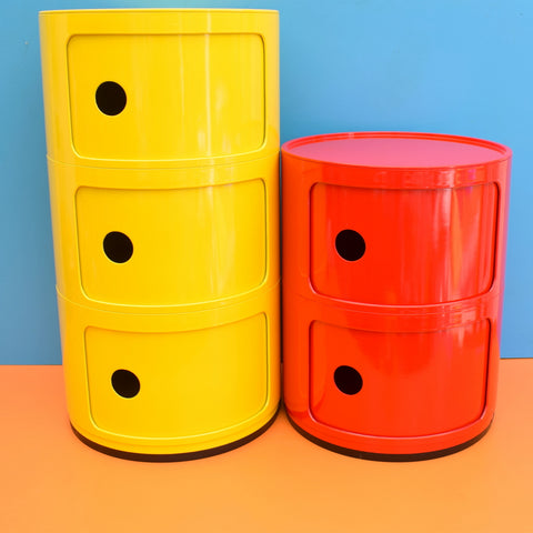 Retro Round Storage 3 or 2 - Drawer Unit - Anna Castelli Style - Bright Yellow or Red