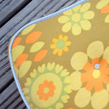 Vintage 1960s Single / Childs Mattress - Camper Van ? - Orange/ Yellow Flower Power