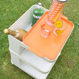 Vintage 1970s Plastic Trolley - Drinks Bar / Side Unit - Orange & White