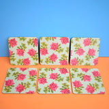 Vintage 1950s Place Mats x6 - Pink Roses & Duck Egg Blue