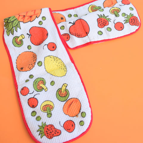 Vintage 1960s Fruit Print Oven Glove - Orange & Green