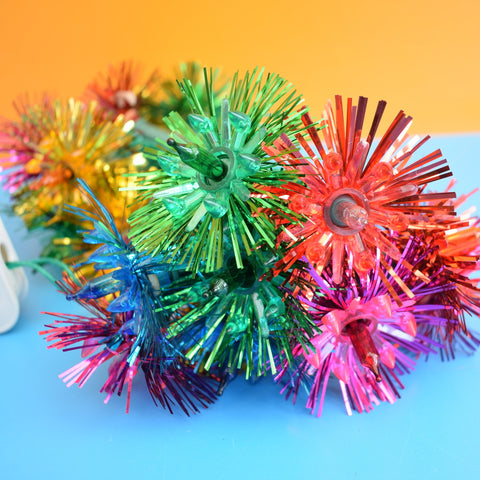 Vintage 1960s Christmas String Lights - Tinsel Flowers #2