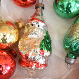 Vintage 1950s Glass Special Christmas Bauble / Decorations - Red / Green
