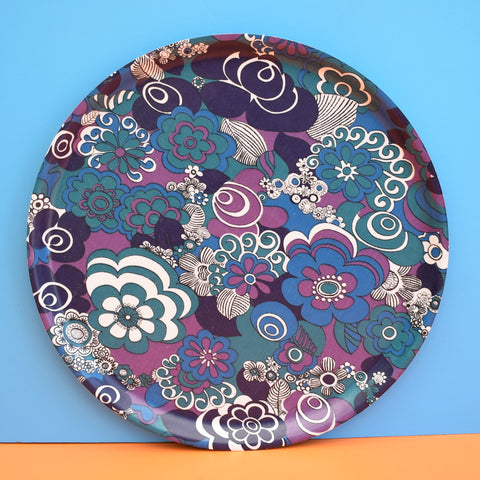 Vintage 1960s Thetford Round Tray - Flower Design, Blue & Purple
