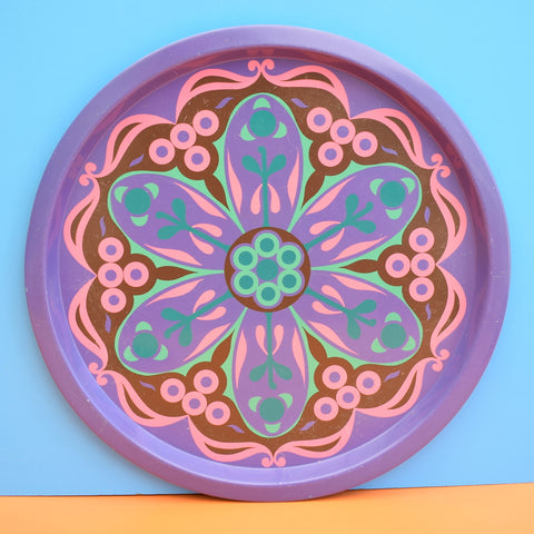 Vintage 1960s Round Stylised Flower Power Metal Tray - Purple & Pink