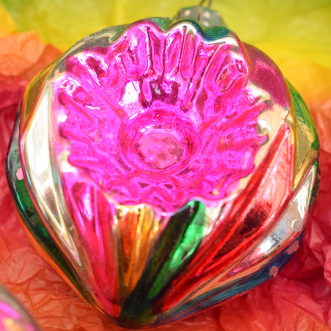 Vintage 1950s Glass Christmas Bauble / Decorations - Large - Pink