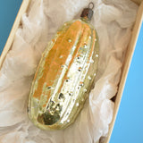 Vintage 1950s Fine Glass Lucky Pickle Decoration - Box
