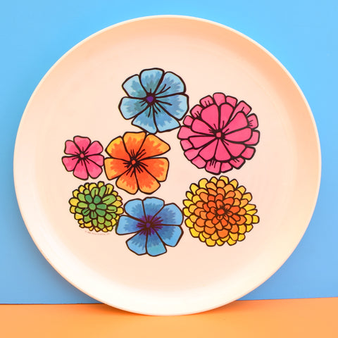 Vintage 1960s American Round Flower Power Plastic Tray - Pink, Orange, Blue