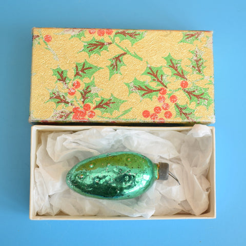 Vintage 1950s Small Fine Glass Lucky Pickle Decoration - Box