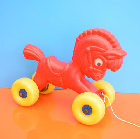 Vintage 1960s Plastic Horse With Wheels - Red & Yellow