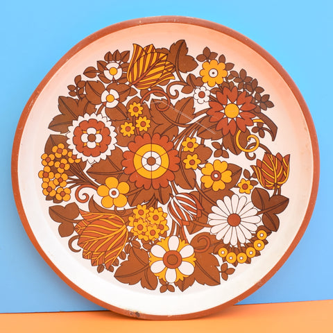 Vintage 1960s Round Flower Power Metal Tray - Brown & Yellow