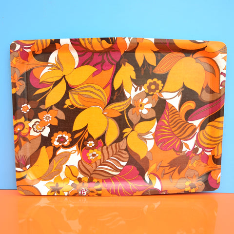 Vintage 1960s Flower Power Mallod Tray - Orange & Purple