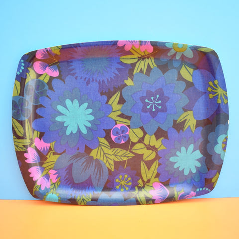 Vintage 1960s Flower Power Thetford Tray - Blue & Green