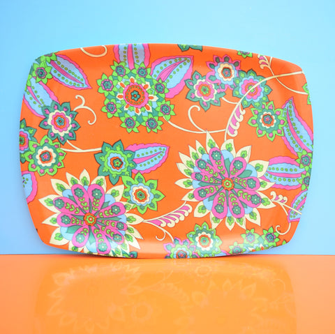 Vintage 1960s Flower Power Large Thetford Tray - Red & Purple