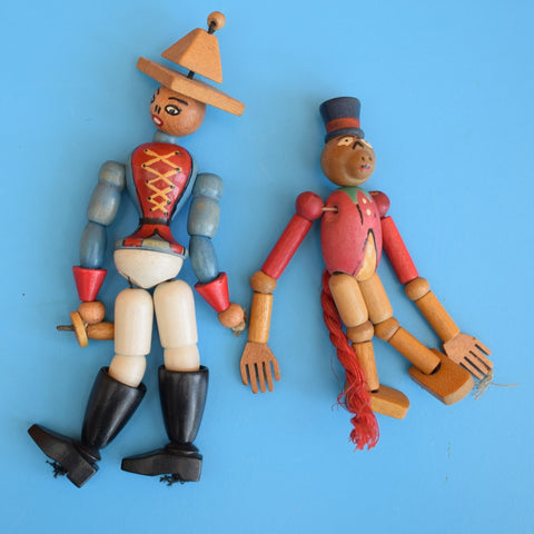 Vintage 1950s Wooden Jointed Decorations - Soldier/ Monkey