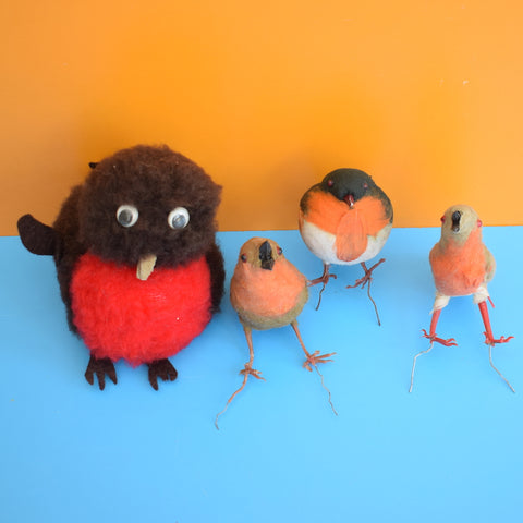 Vintage 1960s Kitsch Robin Decorations x4