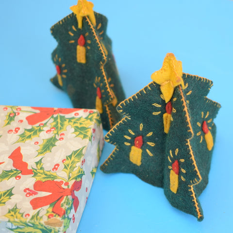 Vintage 1950s Felt Egg Cosies- Christmas Trees - Boxed
