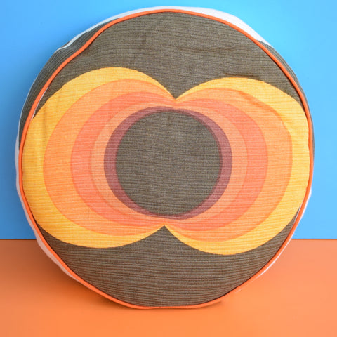 Vintage 1960s Piped Round Cushion & Pad - Geometric - Orange & Brown