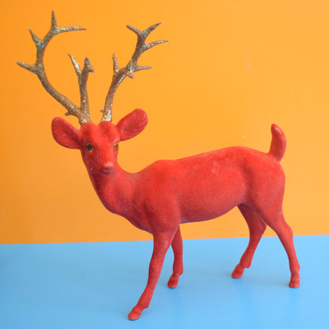 Vintage 1970s Kitsch Flocked Plastic Reindeer Christmas Decoration - Red