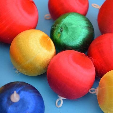 Vintage 1970s Satin Christmas Baubles / Decorations x 11
