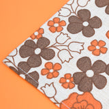 Vintage 1970s Linen Tea Towel - Flower Power - Brown