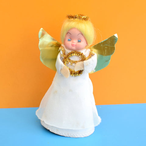 Vintage 1970s Pretty Christmas Fairy Tree Topper - Gold/ Blonde