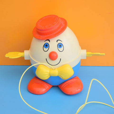 Vintage 1970s kitsch Plastic Fisher Price Humpty Dumpty Pull Along Toy