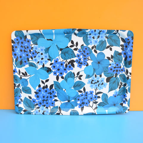 Vintage 1960s Flower Power Large Mallod Tray & Matching Board - Blue